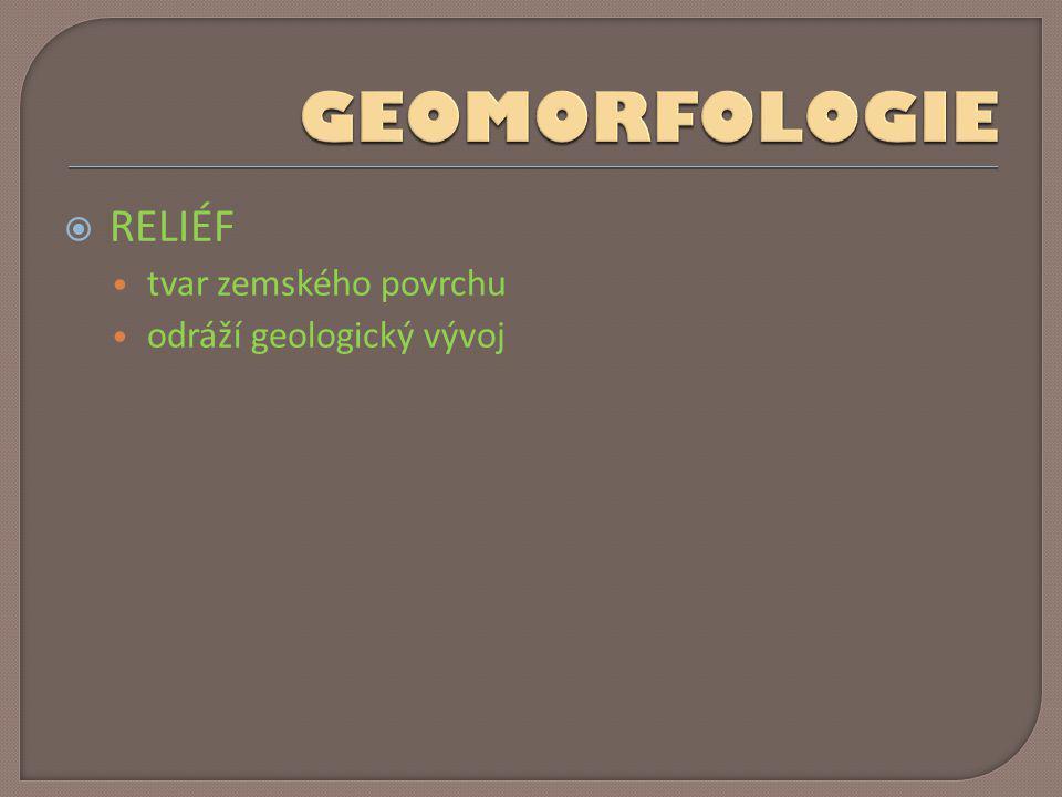 GEOMORFOLOGIE RELIÉF tvar zemského povrchu odráží geologický vývoj