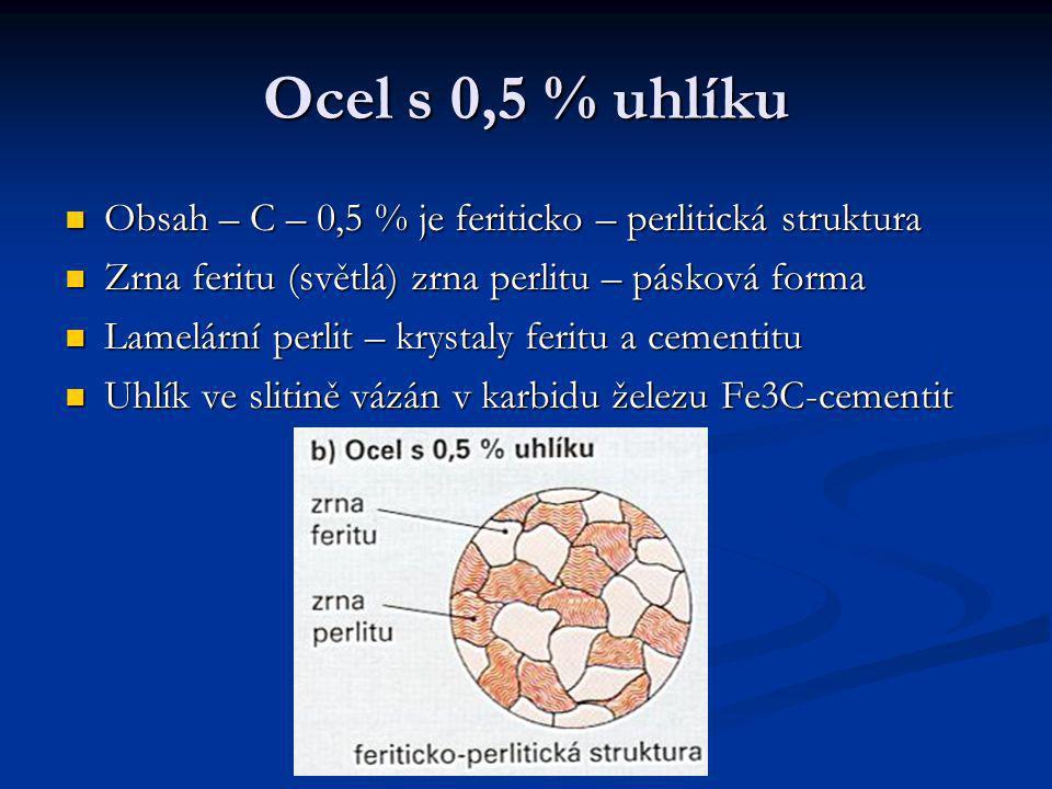 Ocel s 0,5 % uhlíku Obsah – C – 0,5 % je feriticko – perlitická struktura. Zrna feritu (světlá) zrna perlitu – pásková forma.