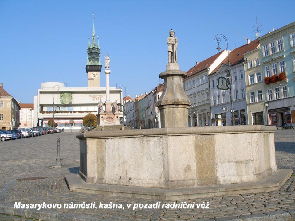 Masarykovo náměstí, kašna, v pozadí radniční věž