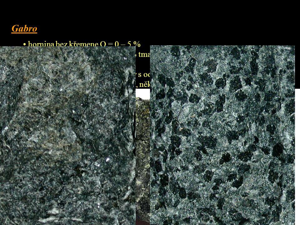 Gabro hornina bez křemene Q = 0 – 5 %