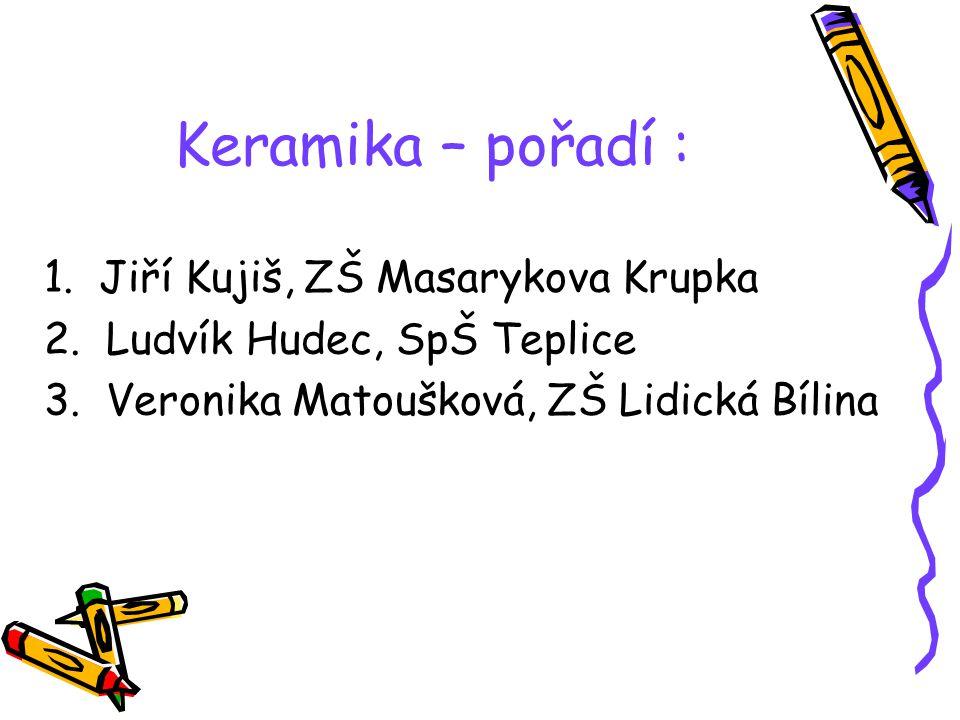 Keramika – pořadí : 1. Jiří Kujiš, ZŠ Masarykova Krupka