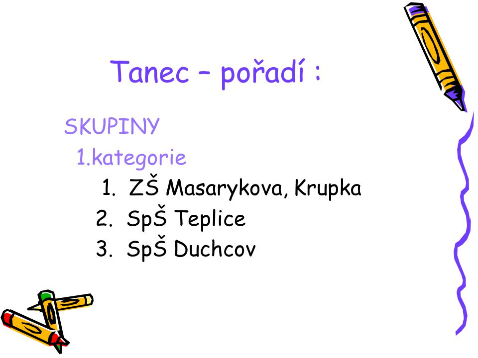 Tanec – pořadí : SKUPINY 1.kategorie 1. ZŠ Masarykova, Krupka
