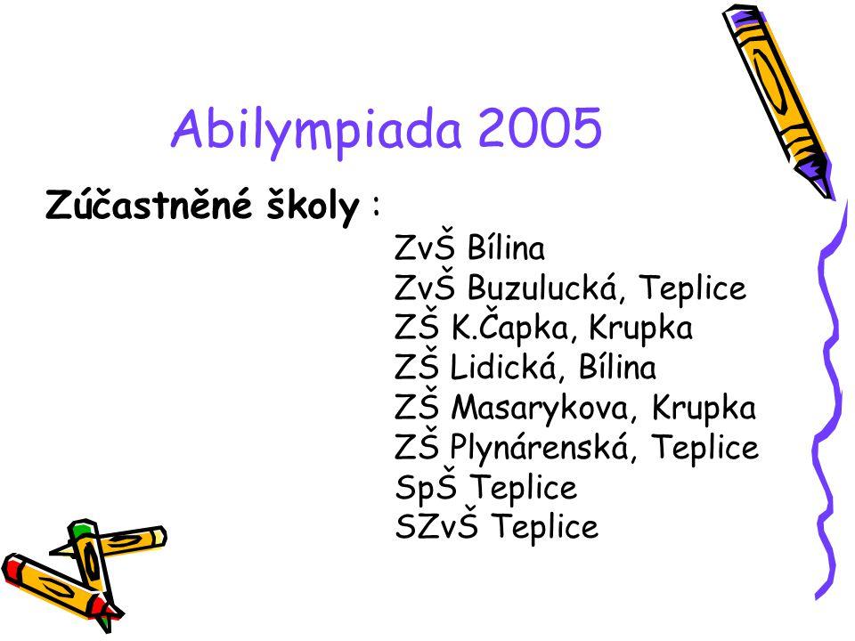 Abilympiada 2005 Zúčastněné školy : ZvŠ Bílina ZvŠ Buzulucká, Teplice