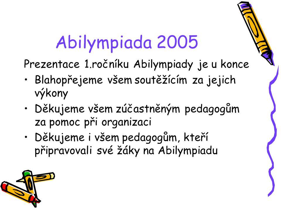 Abilympiada 2005 Prezentace 1.ročníku Abilympiady je u konce