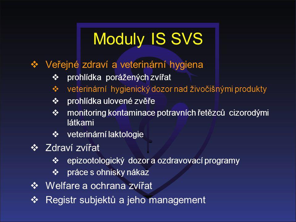 Moduly IS SVS Veřejné zdraví a veterinární hygiena Zdraví zvířat
