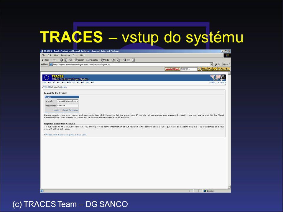 TRACES – vstup do systému
