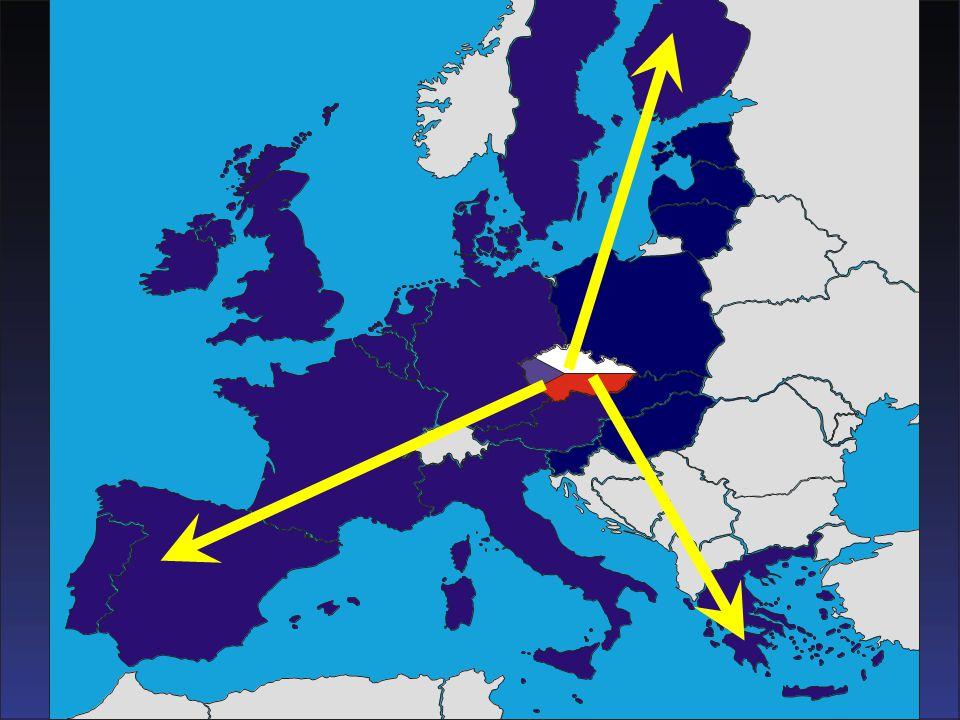 Tento snímek ukazuje polohu České republiky v srdci Evropy.