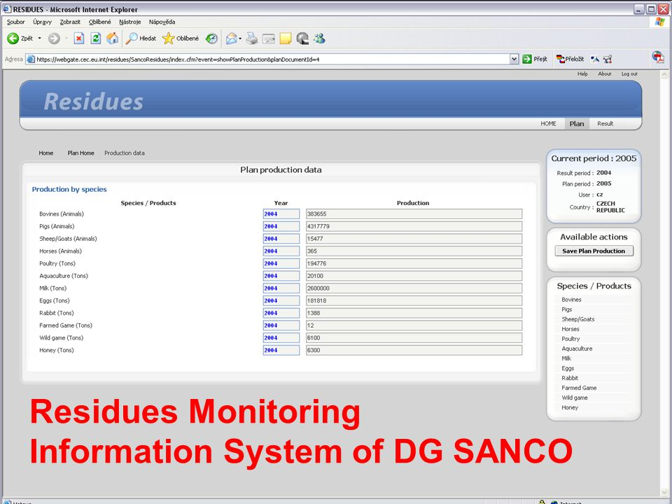 Information System of DG SANCO