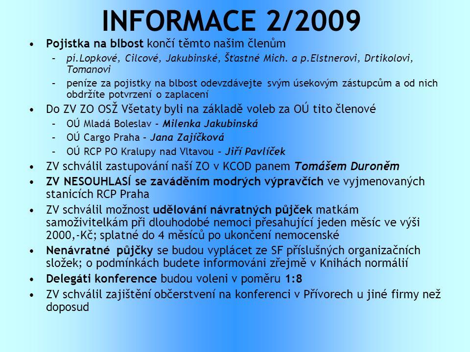 INFORMACE 2/2009 Pojistka na blbost končí těmto našim členům