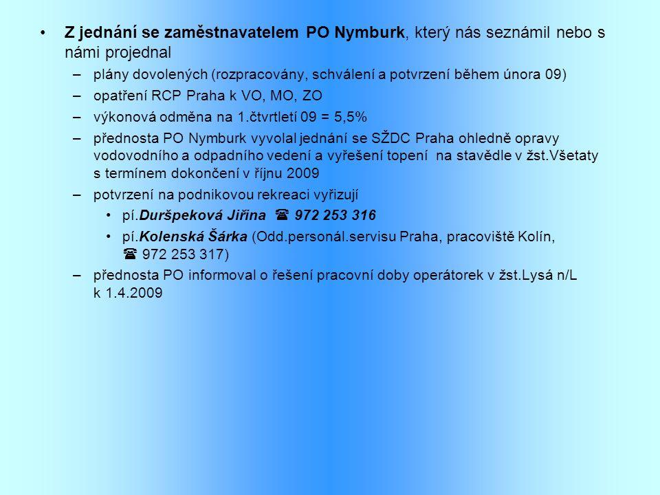 Z jednání se zaměstnavatelem PO Nymburk, který nás seznámil nebo s námi projednal