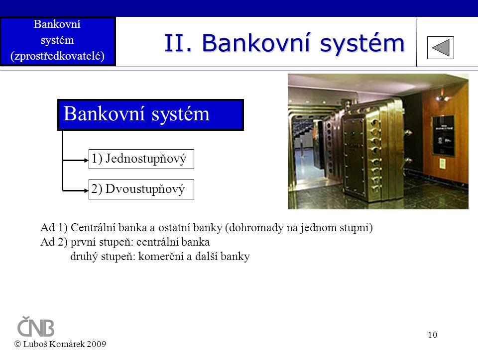 II. Bankovní systém Bankovní systém 1) Jednostupňový 2) Dvoustupňový