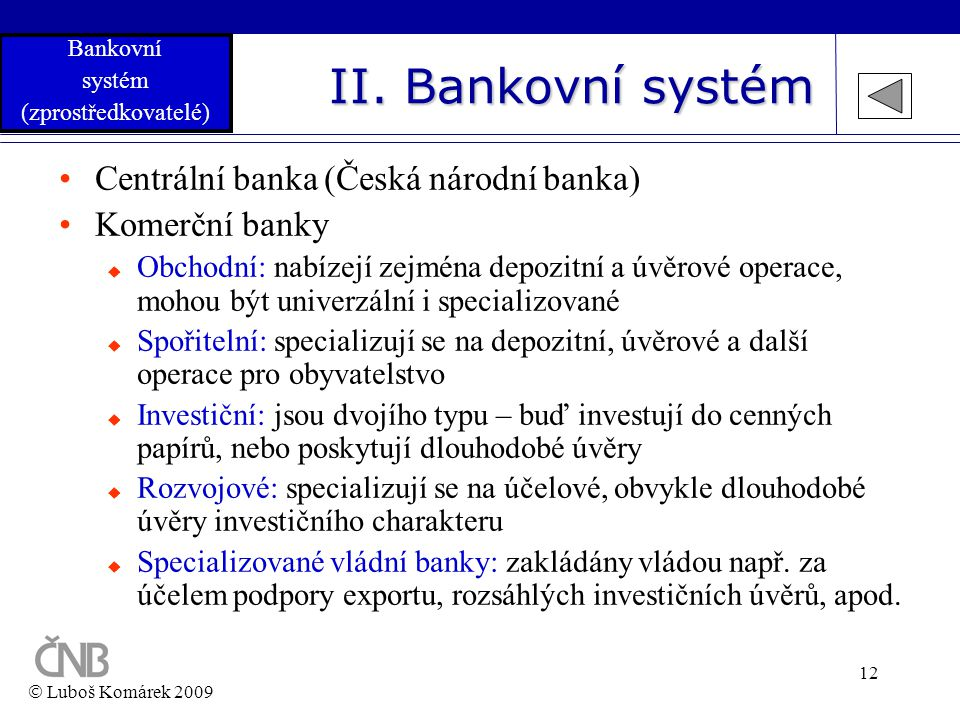 II. Bankovní systém Centrální banka (Česká národní banka)