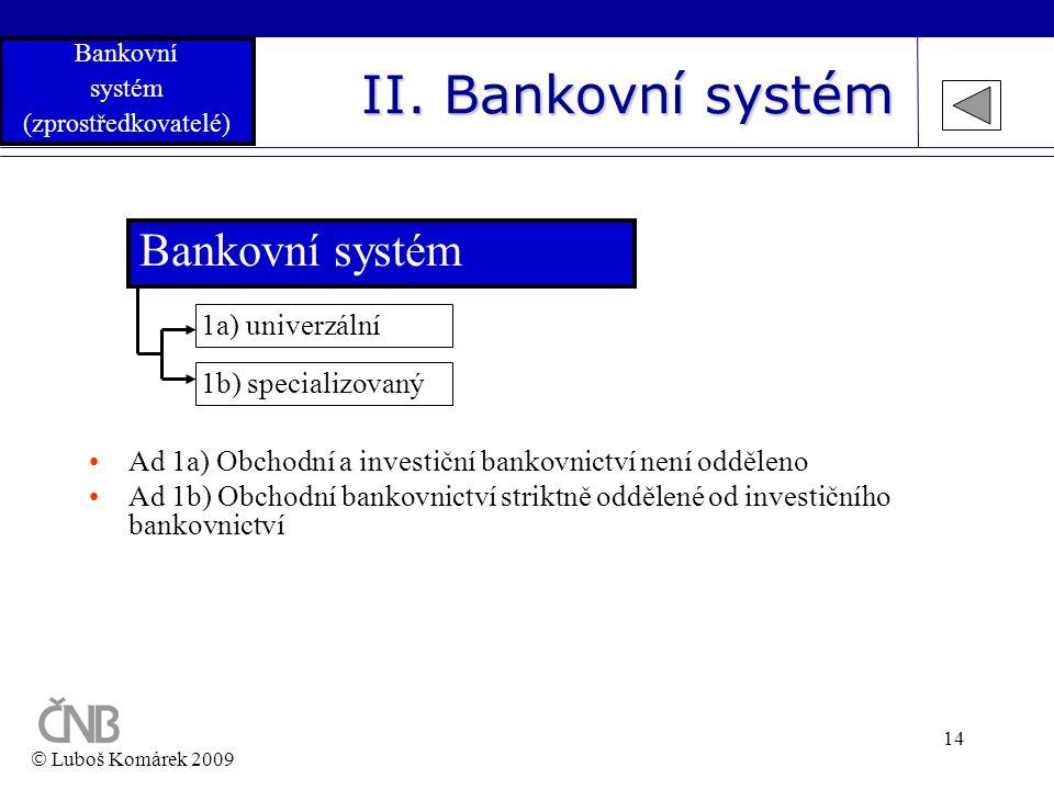 II. Bankovní systém Bankovní systém 1a) univerzální 1b) specializovaný