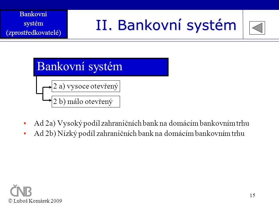 II. Bankovní systém Bankovní systém 2 a) vysoce otevřený