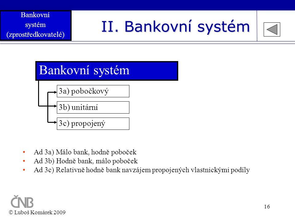 II. Bankovní systém Bankovní systém 3a) pobočkový 3b) unitární