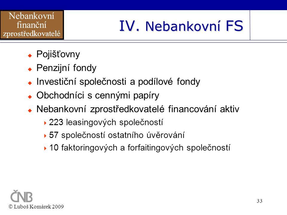 IV. Nebankovní FS Nebankovní finanční Pojišťovny Penzijní fondy