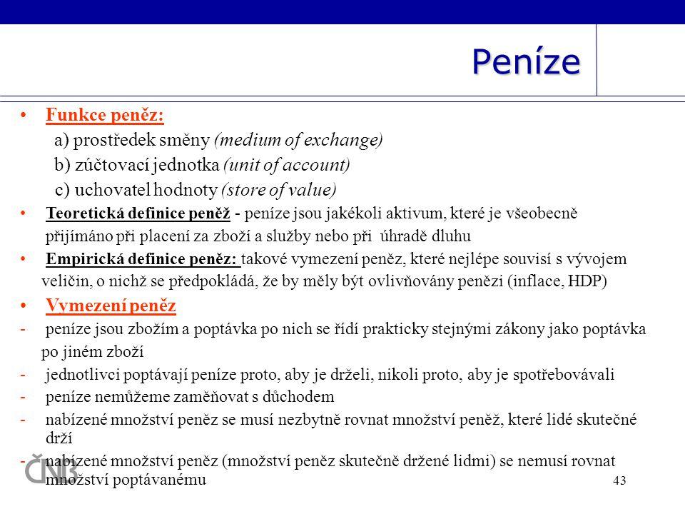 Peníze Funkce peněz: a) prostředek směny (medium of exchange)