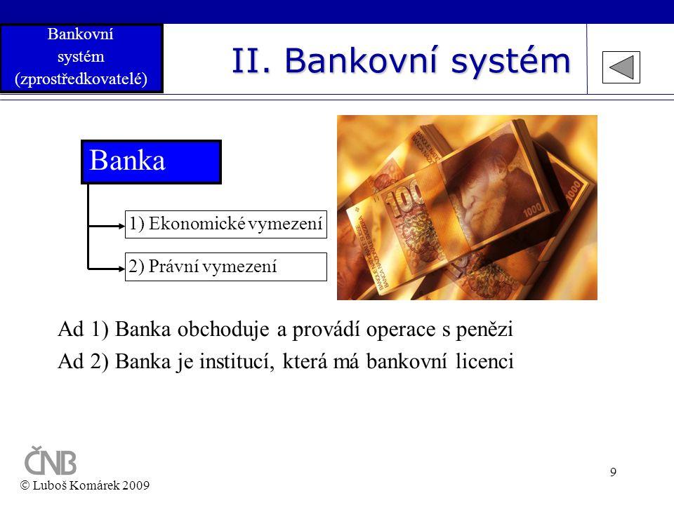 II. Bankovní systém Banka