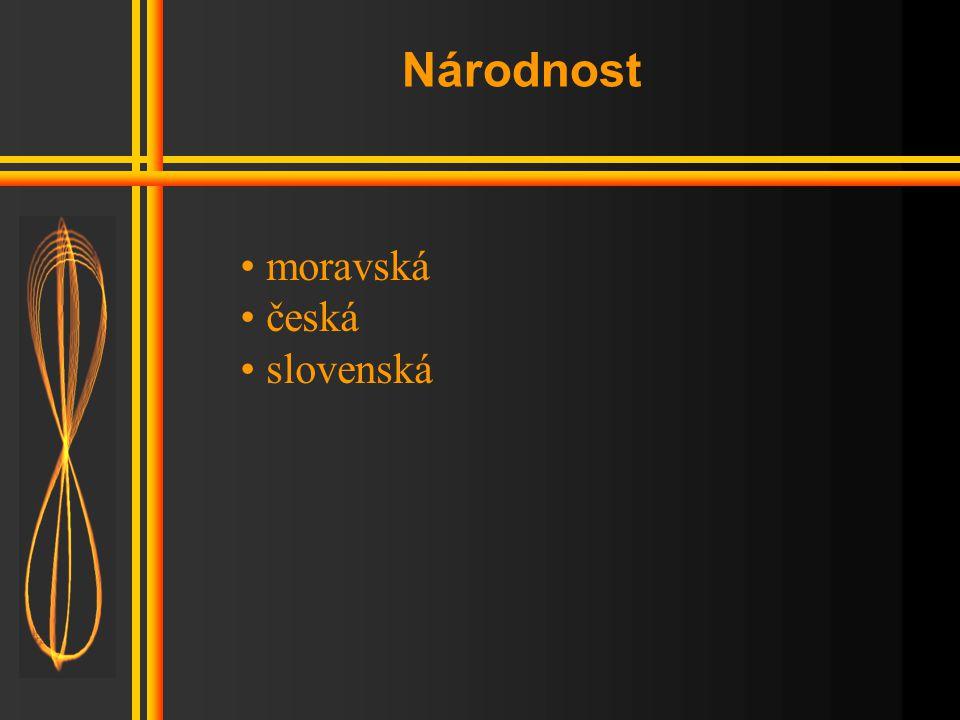 Národnost moravská česká slovenská