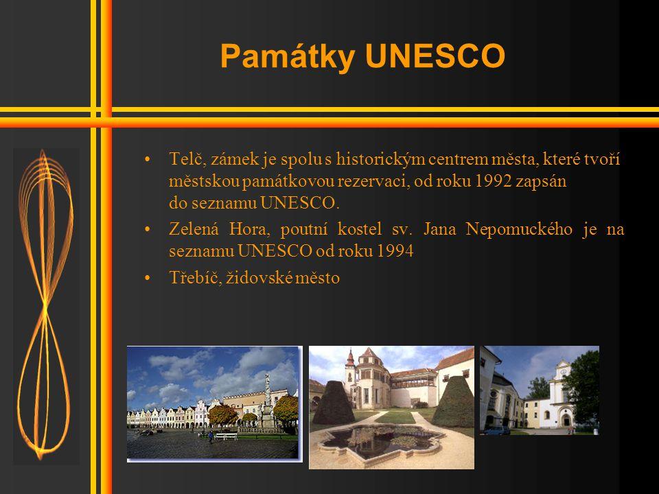 Památky UNESCO Telč, zámek je spolu s historickým centrem města, které tvoří městskou památkovou rezervaci, od roku 1992 zapsán do seznamu UNESCO.