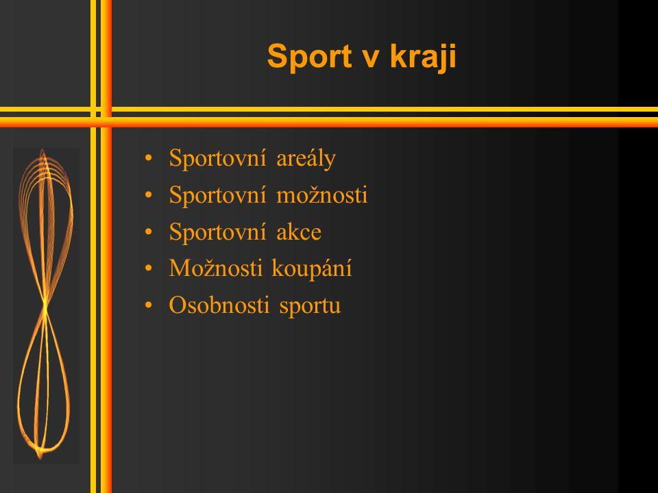 Sport v kraji Sportovní areály Sportovní možnosti Sportovní akce