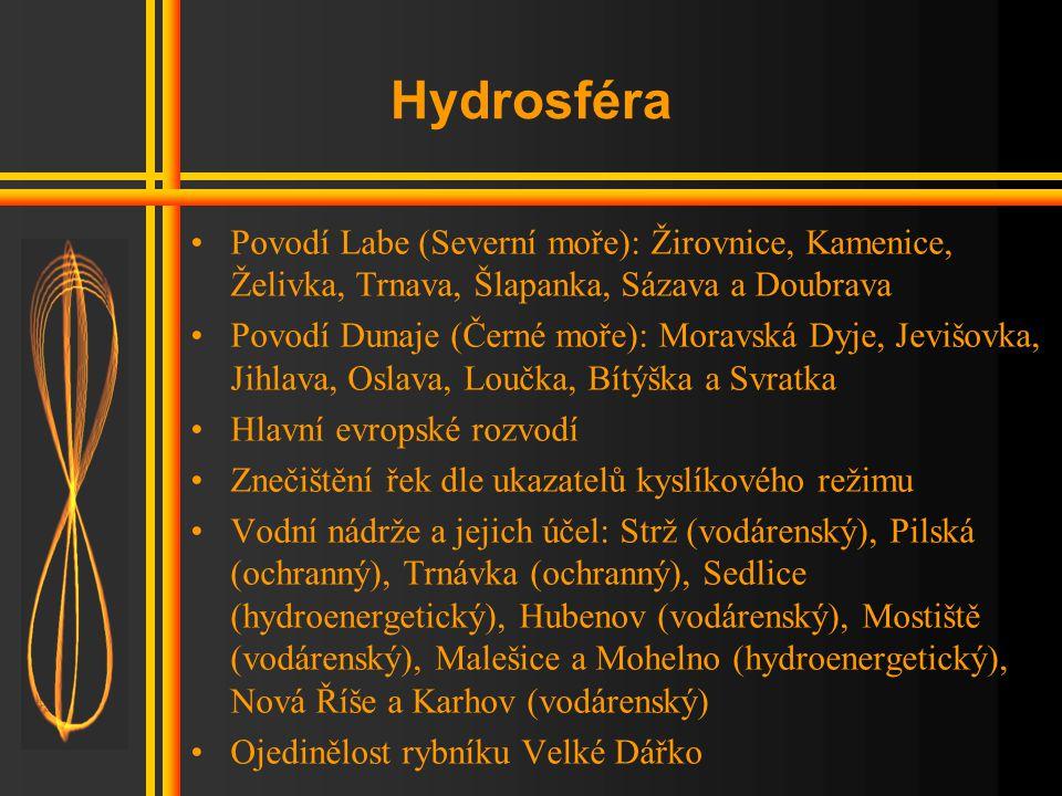 Hydrosféra Povodí Labe (Severní moře): Žirovnice, Kamenice, Želivka, Trnava, Šlapanka, Sázava a Doubrava.