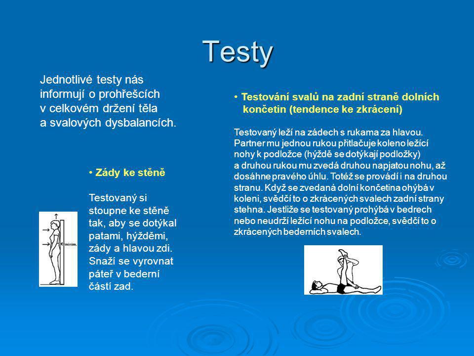 Testy Jednotlivé testy nás informují o prohřešcích v celkovém držení těla a svalových dysbalancích.