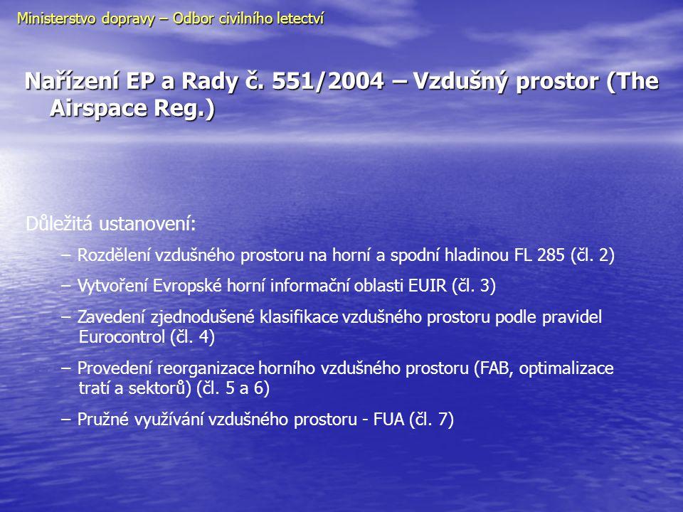 Nařízení EP a Rady č. 551/2004 – Vzdušný prostor (The Airspace Reg.)