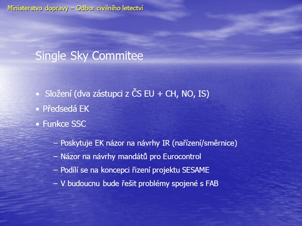 Single Sky Commitee Složení (dva zástupci z ČS EU + CH, NO, IS)
