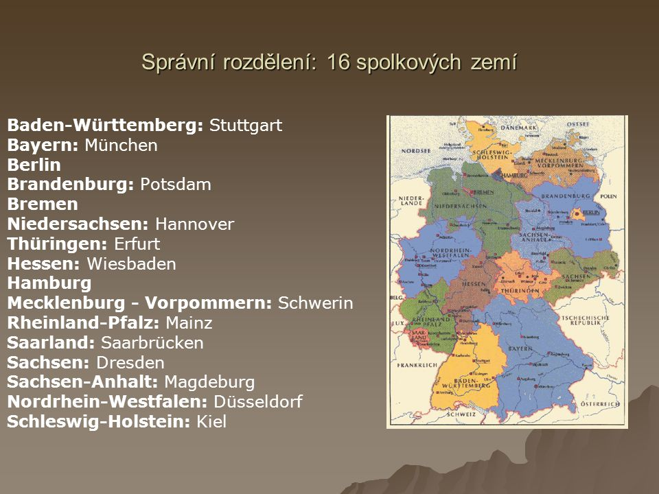 Správní rozdělení: 16 spolkových zemí