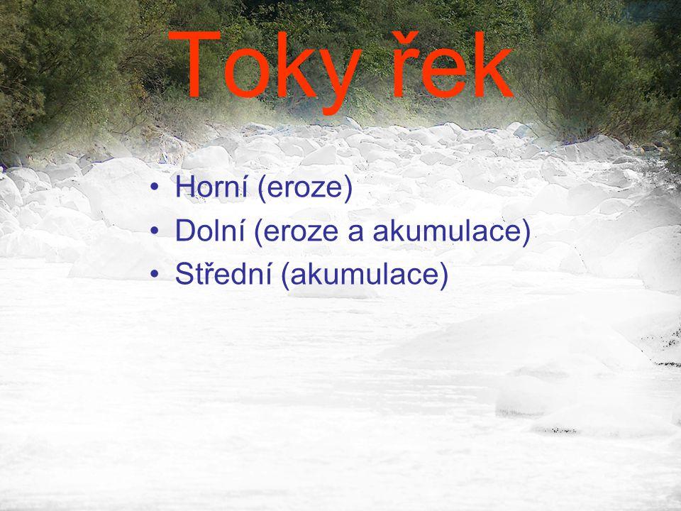 Toky řek Horní (eroze) Dolní (eroze a akumulace) Střední (akumulace)