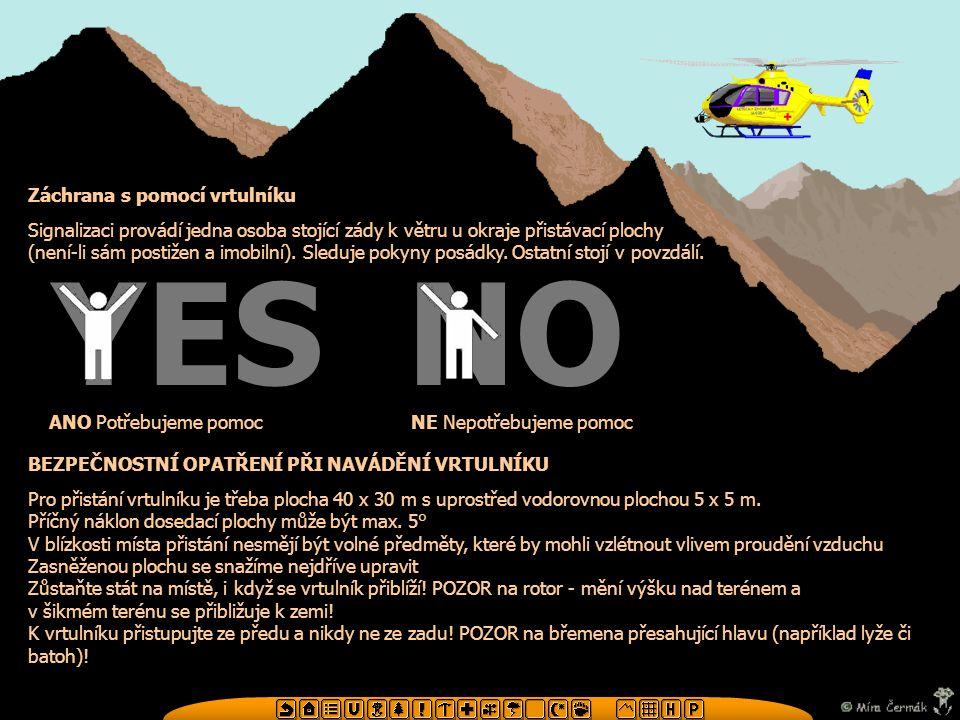 YES NO Záchrana s pomocí vrtulníku
