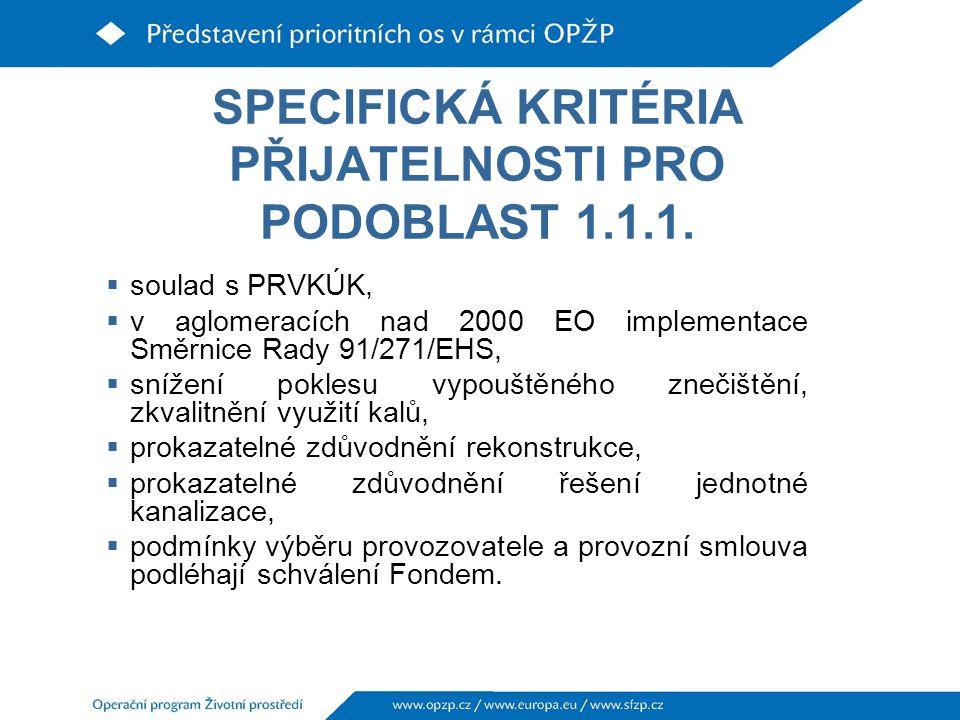 SPECIFICKÁ KRITÉRIA PŘIJATELNOSTI PRO PODOBLAST 1.1.1.