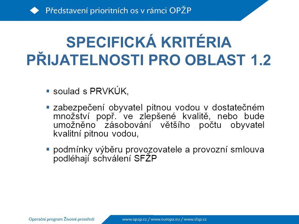 SPECIFICKÁ KRITÉRIA PŘIJATELNOSTI PRO OBLAST 1.2