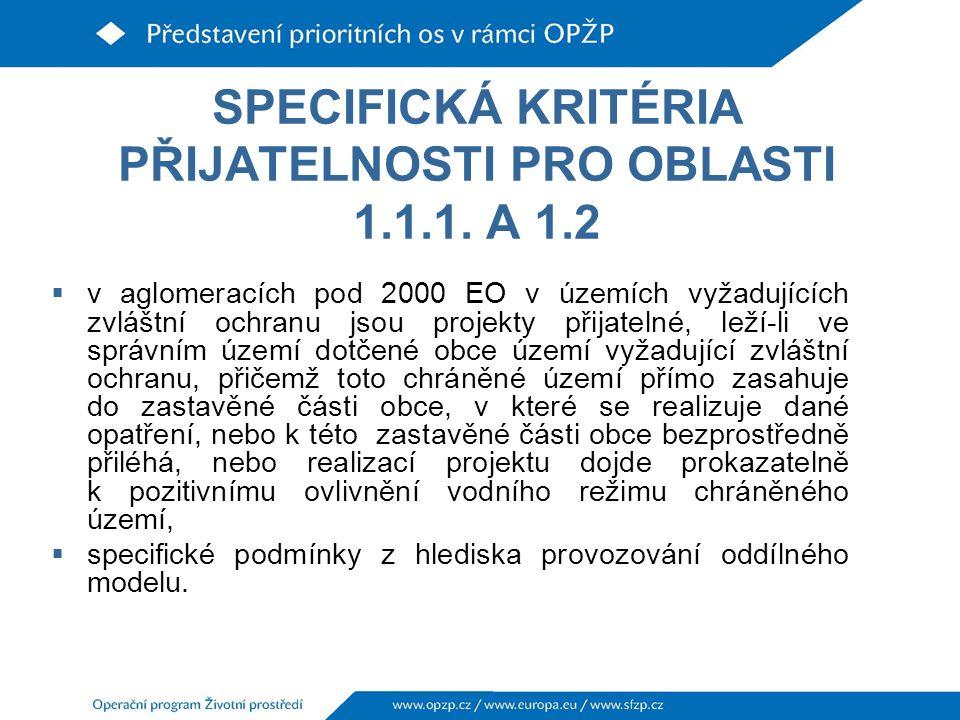 SPECIFICKÁ KRITÉRIA PŘIJATELNOSTI PRO OBLASTI 1.1.1. A 1.2