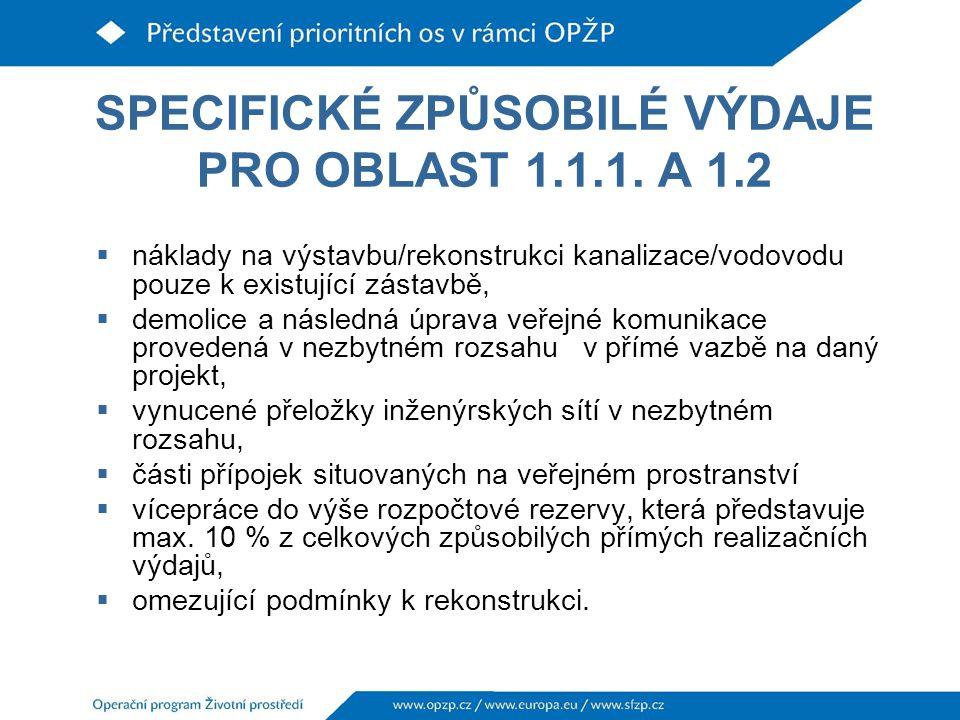 SPECIFICKÉ ZPŮSOBILÉ VÝDAJE PRO OBLAST 1.1.1. A 1.2