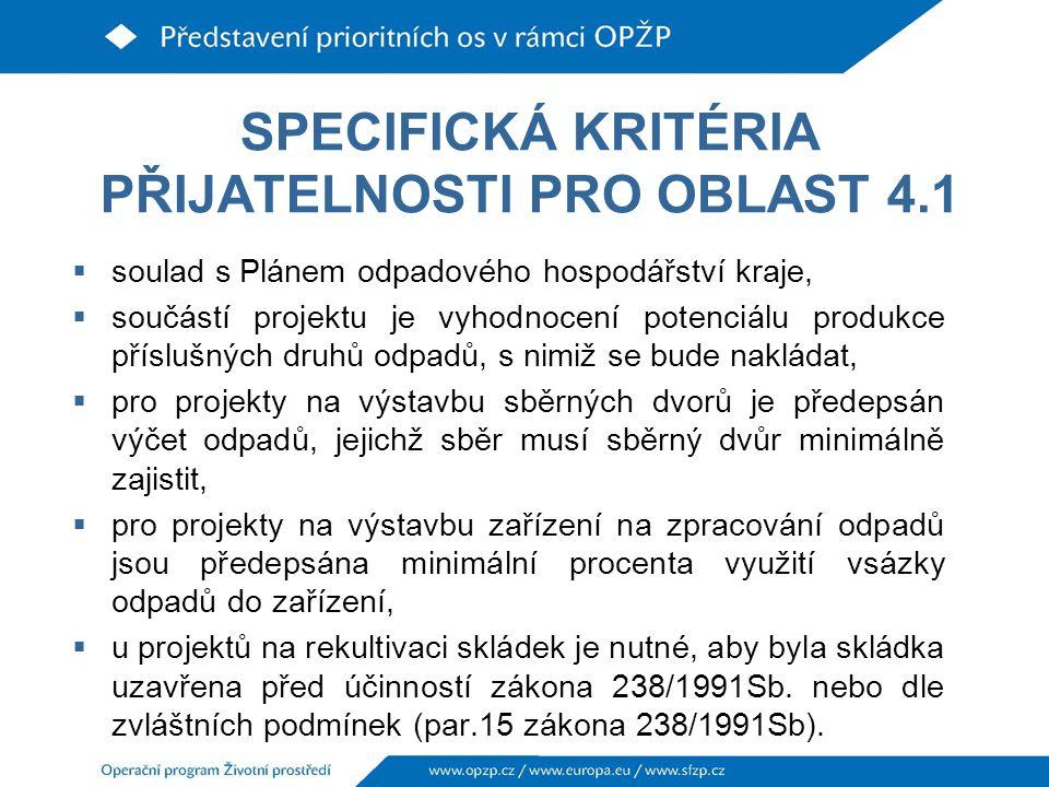 SPECIFICKÁ KRITÉRIA PŘIJATELNOSTI PRO OBLAST 4.1