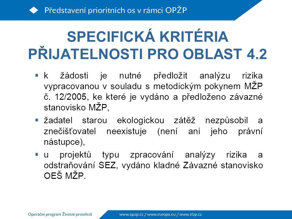 SPECIFICKÁ KRITÉRIA PŘIJATELNOSTI PRO OBLAST 4.2