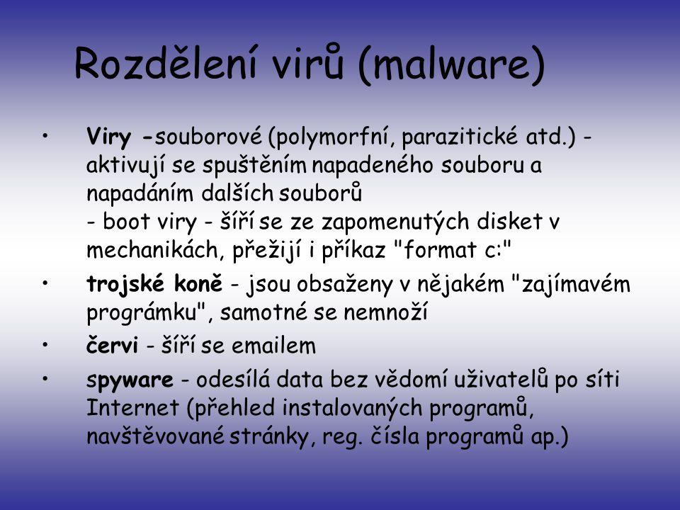Rozdělení virů (malware)