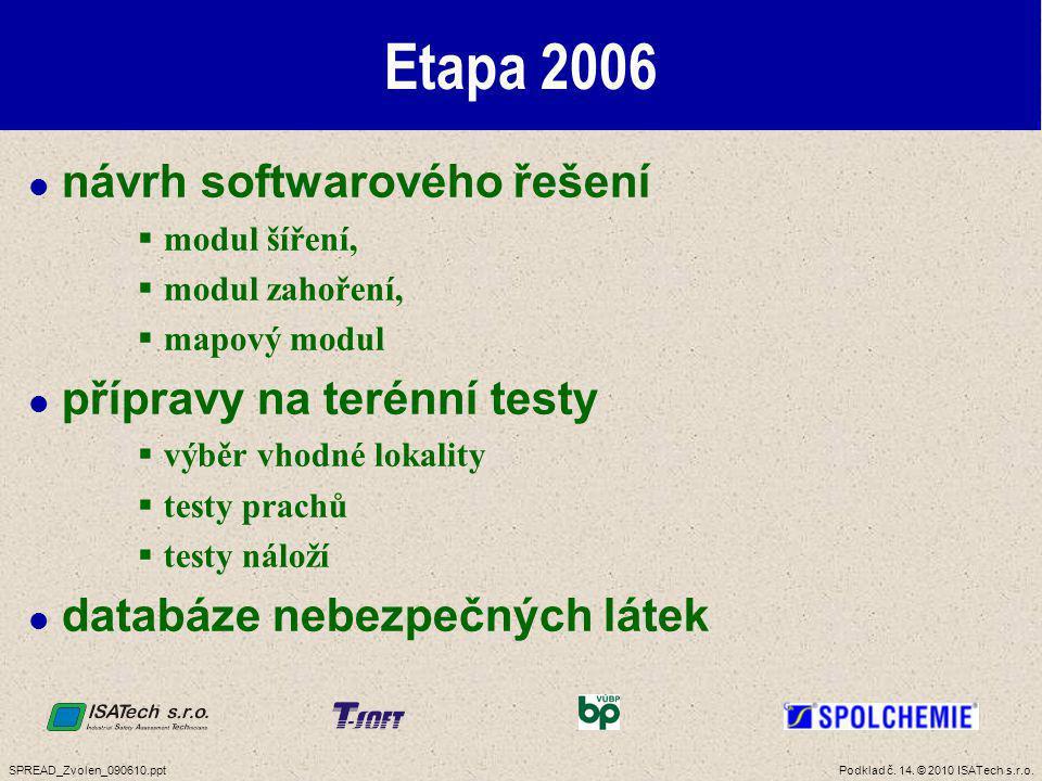 Etapa 2007 návrh a upřesnění vstupních parametrů terénní testy