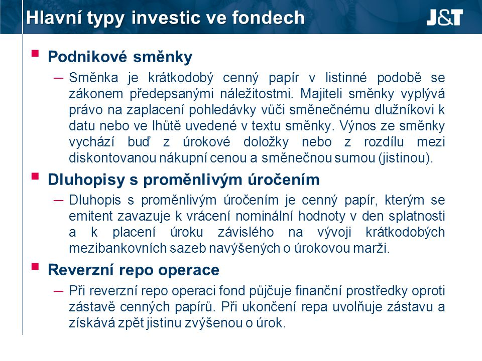 Hlavní typy investic ve fondech