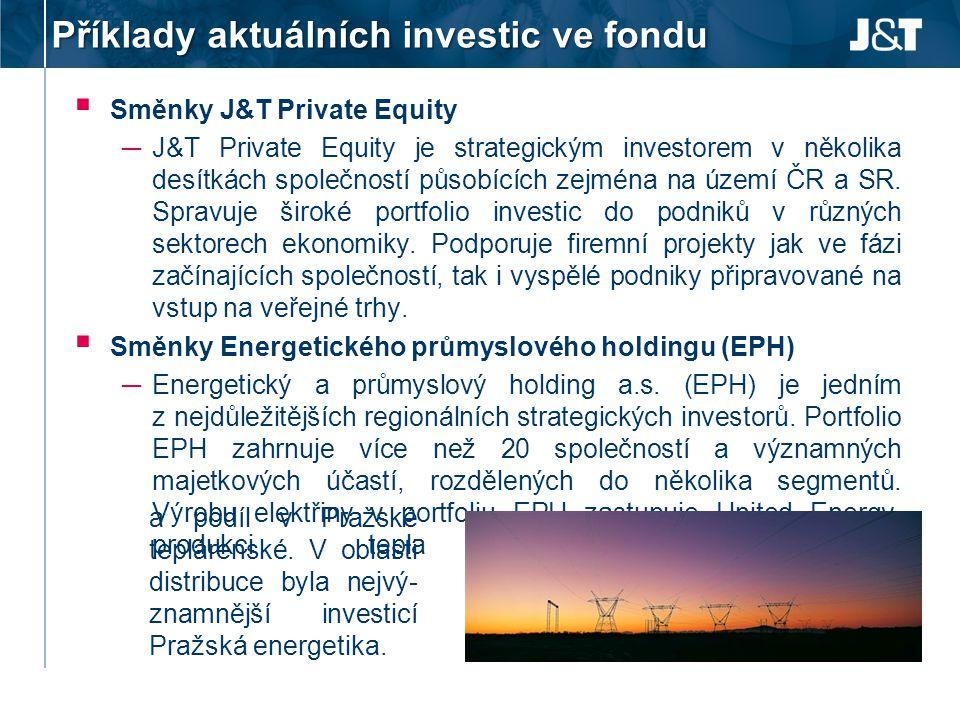 Příklady aktuálních investic ve fondu