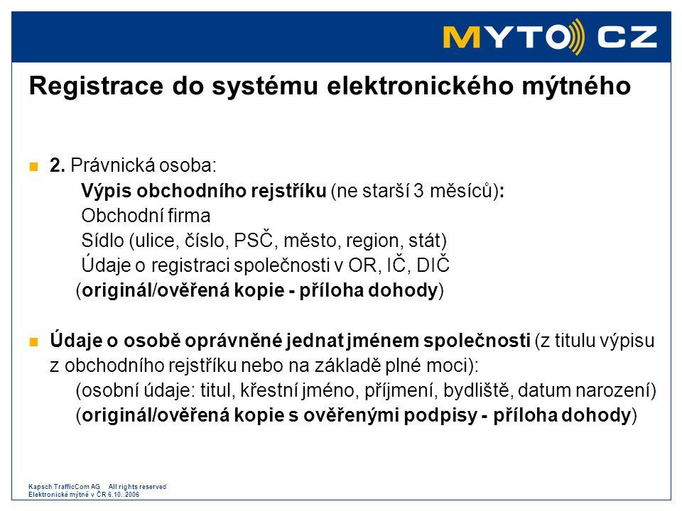 Registrace do systému elektronického mýtného