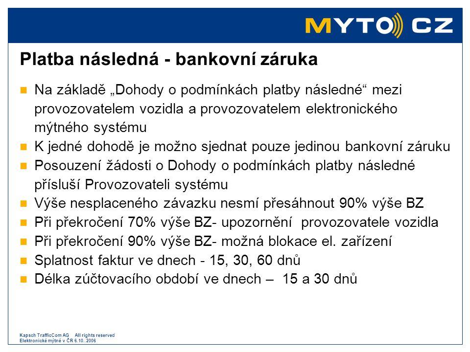 Platba následná - bankovní záruka