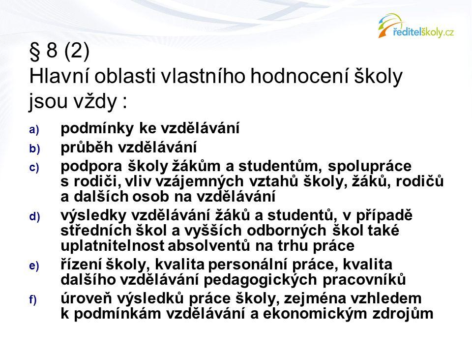 § 8 (2) Hlavní oblasti vlastního hodnocení školy jsou vždy :