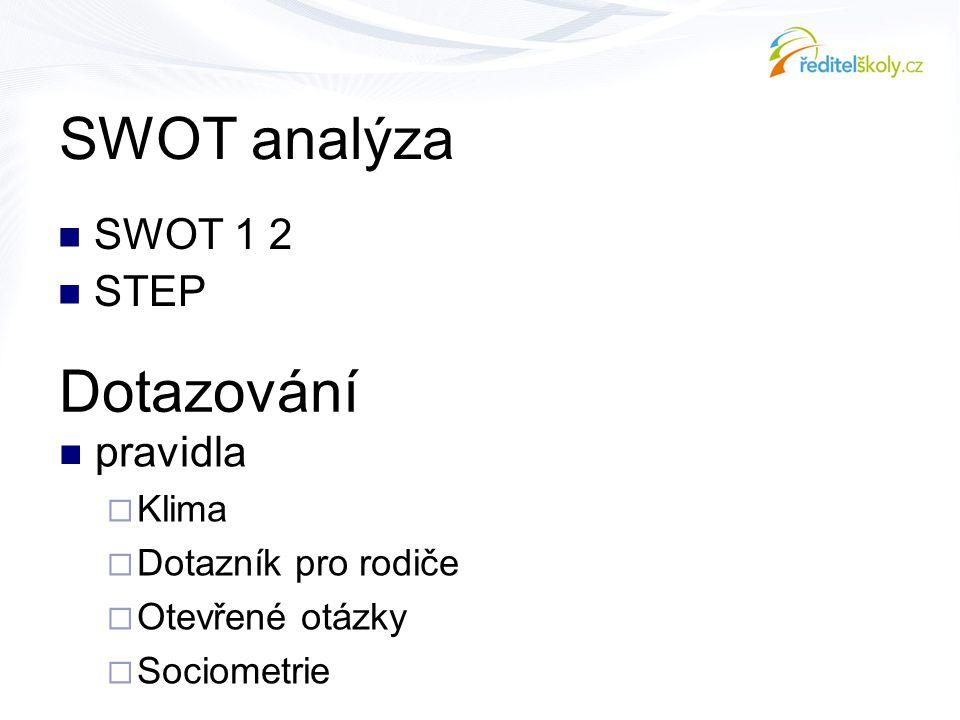 SWOT analýza Dotazování SWOT 1 2 STEP pravidla Klima