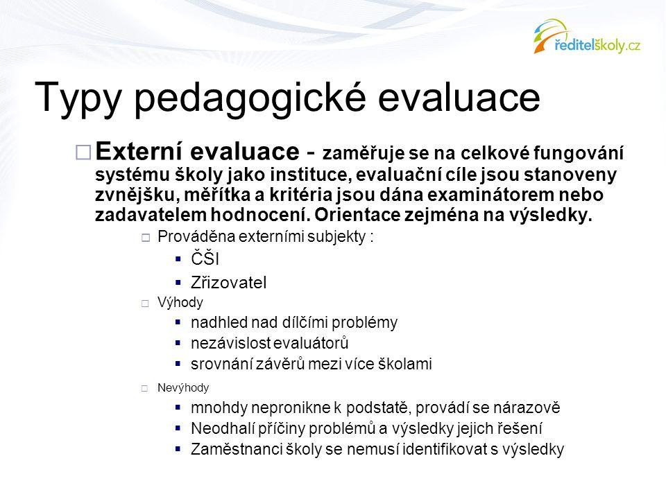 Typy pedagogické evaluace