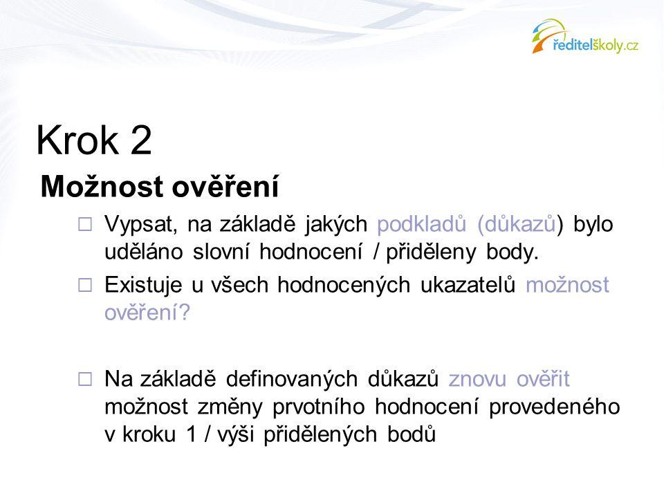 Krok 2 Možnost ověření. Vypsat, na základě jakých podkladů (důkazů) bylo uděláno slovní hodnocení / přiděleny body.
