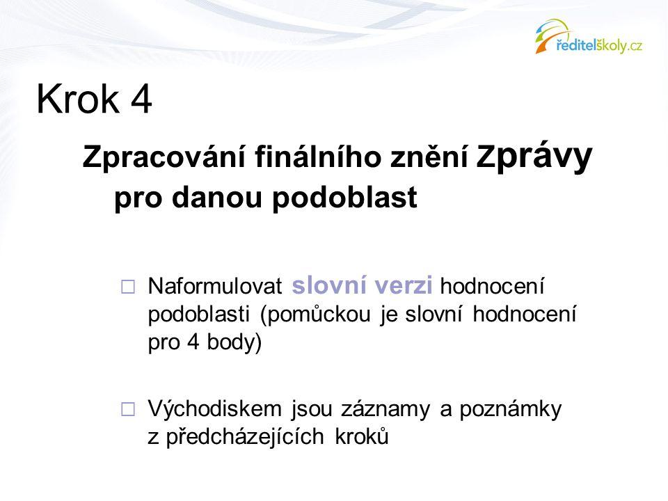 Krok 4 Zpracování finálního znění Zprávy pro danou podoblast