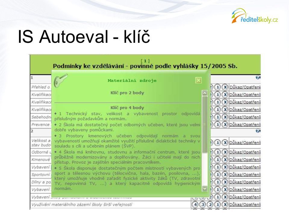 IS Autoeval - klíč